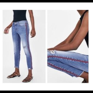 Zara Distressed side stripes Red/White jeans